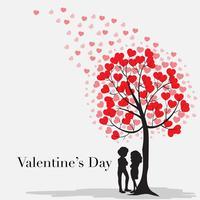 Modelo de cartão Velentine com corações na árvore vetor
