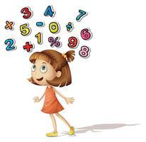 Menina, com, números, ligado, dela, cabeça vetor