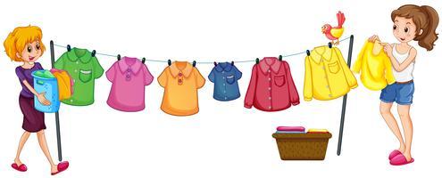 Duas mulheres, fazendo lavanderia vetor