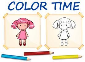 Modelo de coloração com boneca fofa vetor