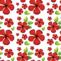 Projeto de plano de fundo sem emenda com flores de hibicus vermelho