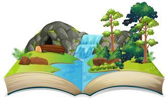 Tema de natureza de livro aberto isolado vetor
