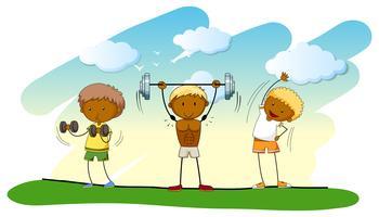 Três pessoas, fazendo, weightlifting, ligado, a, gramado vetor