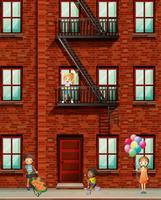 Prédio de apartamentos com muitas crianças vetor