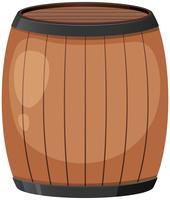 Um barril de madeira no fundo branco vetor