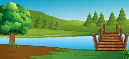 Cena, com, rio, e, pinho, árvores vetor