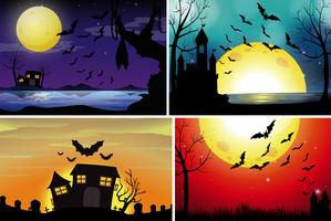 Quatro cenas de fundo com fullmoon à noite vetor