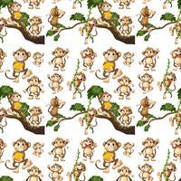 Projeto de plano de fundo sem emenda com macacos bonitos vetor