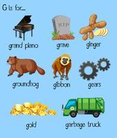 Muitas palavras para o alfabeto G vetor