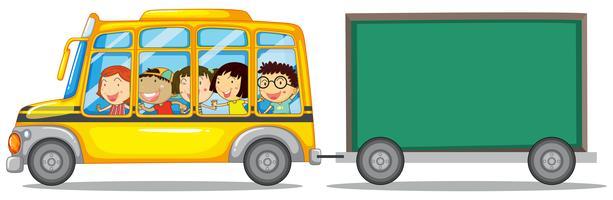 Design de moldura com crianças no ônibus vetor