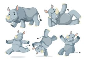 Conjunto de rinocerontes fofos vetor