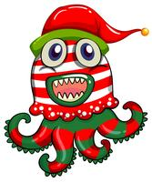 Tema de Natal com monstro no chapéu de Natal vetor