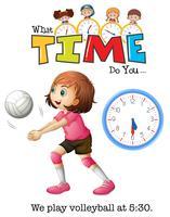 Uma menina jogando, voleibol vetor