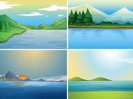 Quatro cenas de fundo com lago e colinas vetor