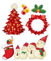 Tema de Natal com boneco de neve e enfeites vetor