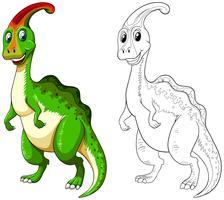 Contorno animal para dinossauro feliz vetor