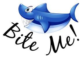 Tubarão azul e frase me morder vetor