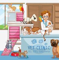 Médico veterinário com gatos e cães na clínica vetor