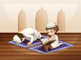 Muçulmano rezando na mesquita vetor