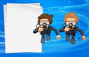Modelo de papel com dois mergulhadores vetor