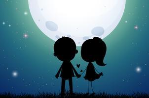 Silhueta amor casal no campo vetor