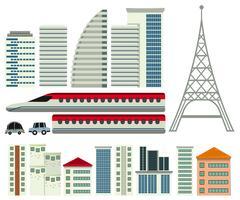 Um conjunto de elementos da cidade moderna vetor