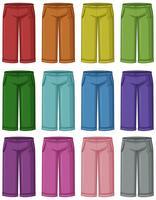 Conjunto de calças coloridas diferentes vetor