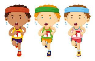 Três, corredores, executando, em, raça vetor