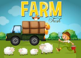 Cena de fazenda com fazendeiro e ovelhas vetor
