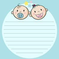 Design de papel com dois bebês vetor