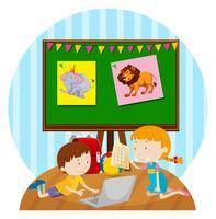 Dois, filhos, estudar, em, sala aula