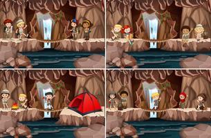 Conjunto de crianças acampadas na caverna vetor