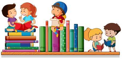 Crianças lendo e brincando com livros vetor