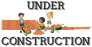 Crianças, trabalhando, local construção vetor