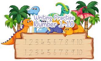 Prática de escrita número um a dez vetor