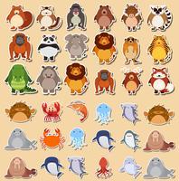 Conjunto de adesivos de animais fofos vetor