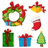 Elementos de Natal com coroa e árvore vetor