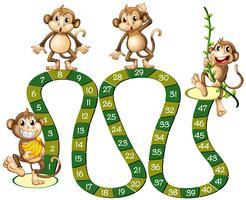 Modelo de jogo de tabuleiro com macacos fofos vetor