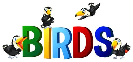 Design de fonte com pássaros de palavra vetor