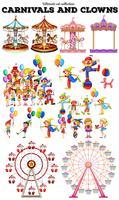 Objetos de carnaval e palhaços vetor