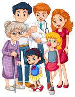 Doutor e muitos pacientes em diferentes idades vetor