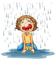 Menino chorando na chuva vetor
