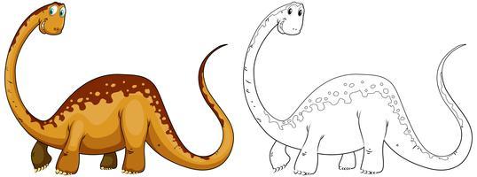 Doodles esboçar animal para dinossauro pescoço longo vetor