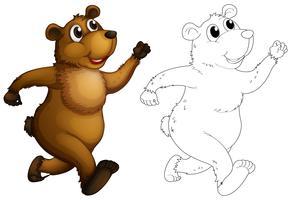 Doodle animal para urso pardo vetor