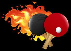 Conjunto de tênis de mesa em chamas vetor