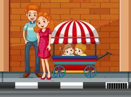 Família, com, crianças, em, carreta vetor