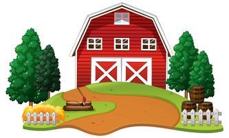Celeiro vermelho na fazenda vetor