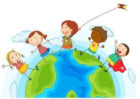 Crianças correndo ao redor do mundo vetor