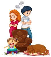 Os pais ficam bravos com a criança fazendo bagunça vetor