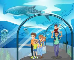 Muitas famílias que visitam o aquário
